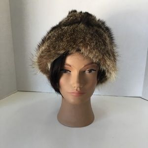 Raccoon Fur Unisex Hat with a Center Crease